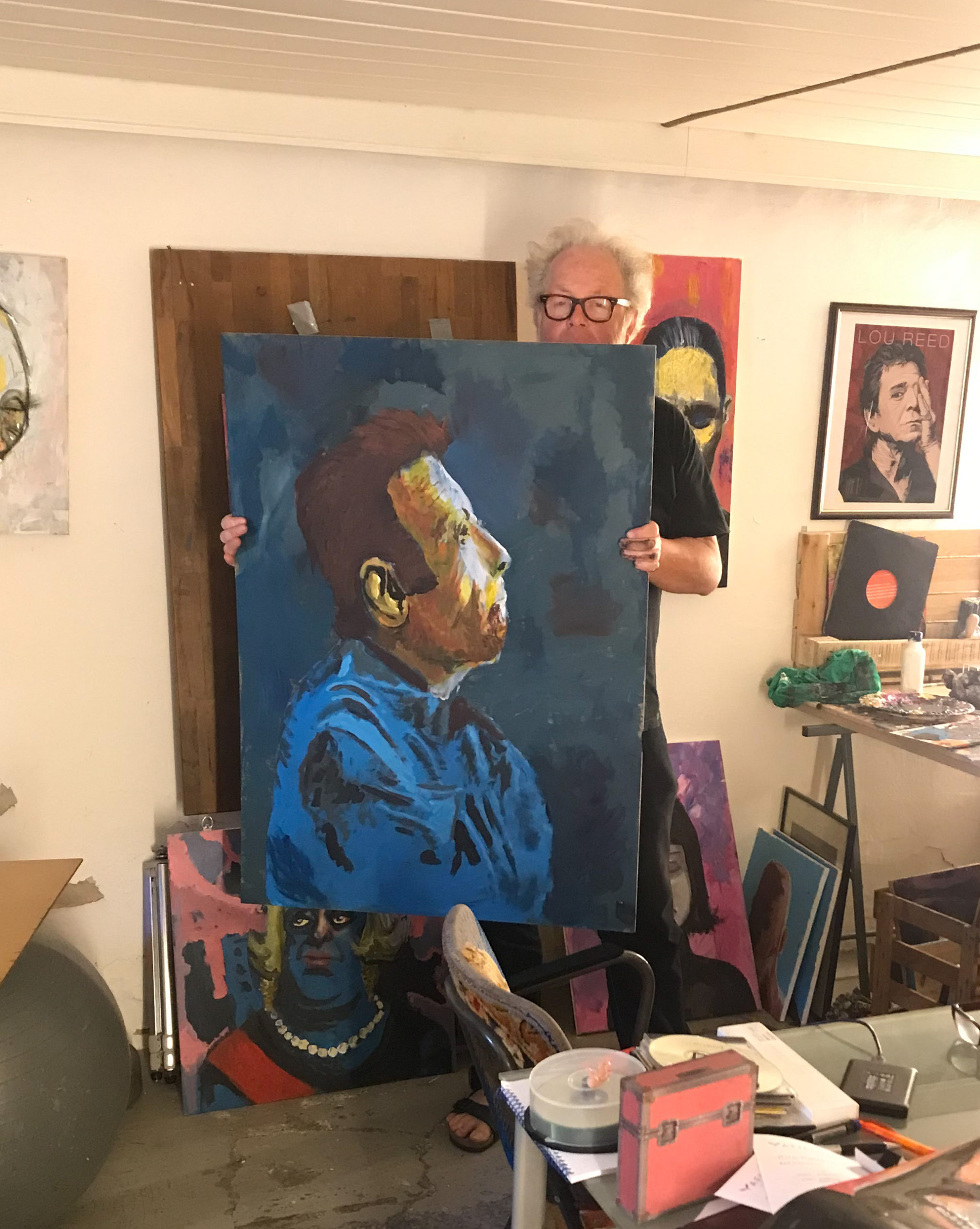 Odermann with big Tom Waits painting